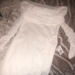 Dresses & Skirts - White off the shoulder long sleeve dress
